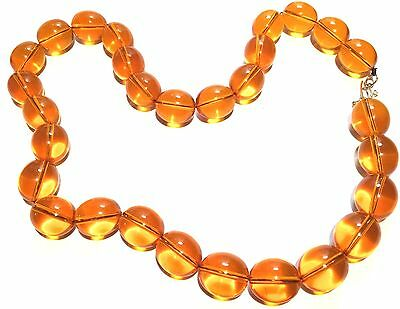 Vintage Honey Colored Amber Lucite Large Bead Necklace 146 Grams