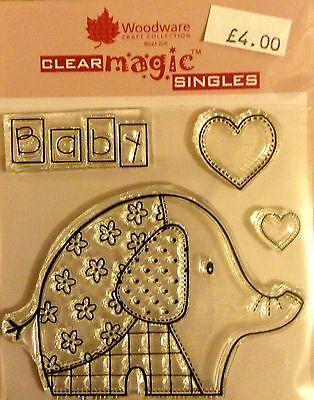 Woodware Clear Magic Baby Patch Elephant stamp FRS118
