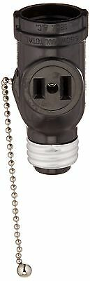 Leviton 1406 660 Watt 125 Volt Two Outlet With Pull Chain Socket Adapter (Bla...