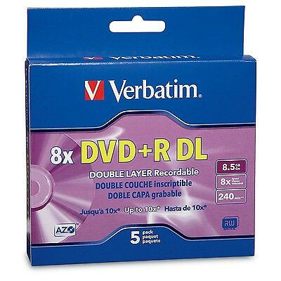 Verbatim DVD+R DL AZO 8.5GB 8x-10x Branded Double Layer Recordable Disc 5-Dis...