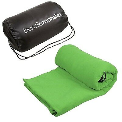 Bundle Monster Warm Cozy Microfiber Fleece Adult Sleeping Bag Liner - Neon Gr...