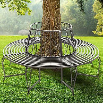 FoxHunter Outdoor Garden Tree Bench Round Circular Steel Vintage Seat Grey GTB01