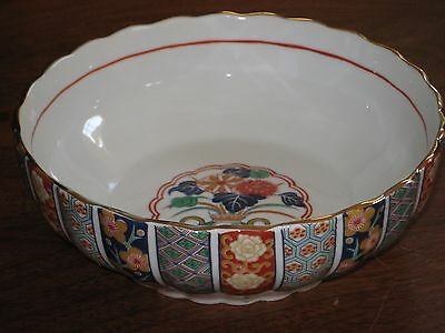 "Vtg Japanese IMARI Bowl  8"" Scalloped Rim Panels Hand Painted"