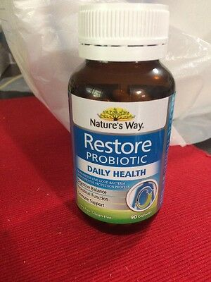Natures Way Restore Daily 90 Probiotic Capsules New & Sealed