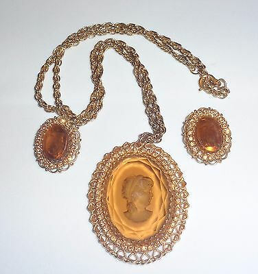 Vintage Warner Cameo Pendant Necklace Earrings Set Amber Glass Rhinestones