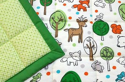 "LAST ONE! HANDMADE, ""WOODLAND ANIMALS"" 34inx42in BABY/TODDLER  QUILT/COMFORTER"