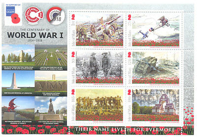 Isle of Man-Battle of The Somme -World War i special min sheet mnh 2016-military