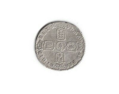 1697 William III Sixpence. 3rd bust. Scarce.  Ref: 8/7