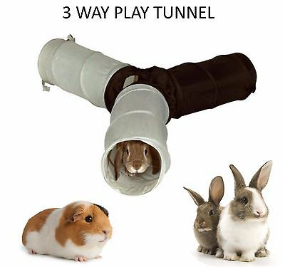 Trixie Nylon 3 Way Rabbit Guinea Pig Ferret Play Tunnel Hide Run Tube Toy 62791