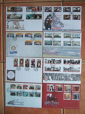 ISLE OF MAN 2005 8 x DIFFERENT FIRST DAY COVERS COMPLETE SETS INC HARRY POTTER
