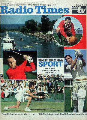 Radio Times 6 July 1968 . Golf - The Open . Tennis - Wimbledon