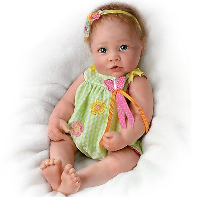 Ashton Drake Butterfly Kisses Touch-Activated baby girl doll by Linda Murray