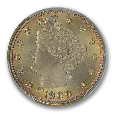 "1900 5C Liberty ""V"" Nickel PCGS MS66+ PQ TONER (CAC)"