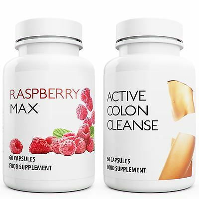 60 Raspberry Ketone 60 Colon Cleanse Capsules Weight Loss Slimming Diet Pills