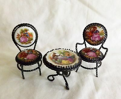 Original Vintage Limoges France 3 Piece Miniature Set of Table & 2 Chairs Excell