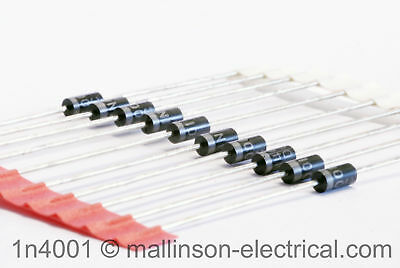 Pack of 10 1N4001 Silicon Rectifier Diodes