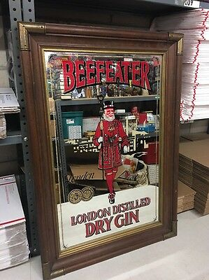 "LARGE VINTAGE Beefeater Gin Mirror 33 high x 23 1/3 "" wide"