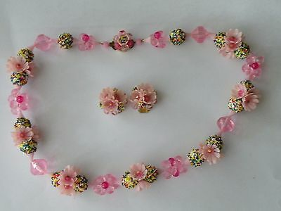 West Germany Western Germany pink plastic flower necklace clip-on earrings. Set.