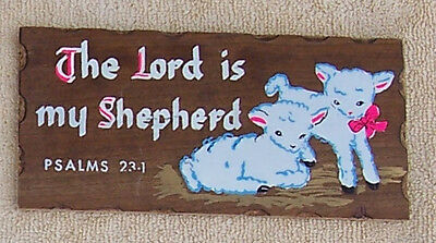 Vintage 1950's, 60's Wood Plaque. Religious. Lambs, The Lord is my Shepherd.