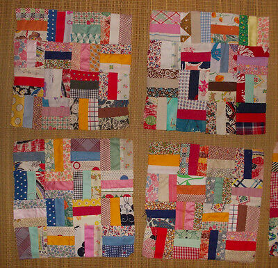 What a treasure! scrap fabric quilt pieces squares & Rail Fence blocks 1970 80's