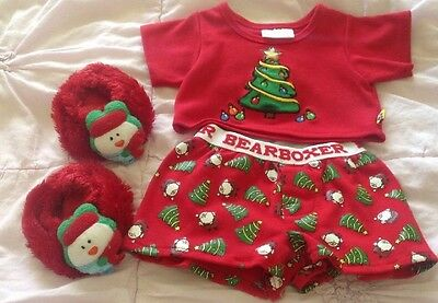 Build a Bear Lot of 3 Red Shirt W/Xmas Tree Red Boxers Red Snowman Slippers EUC