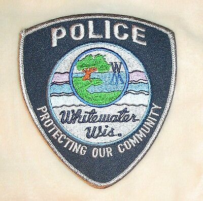 "Whitewater Police Dept Shoulder Patch - Wisconsin - 4 1/4"" x 5"""