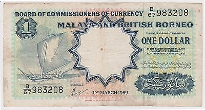 (N2-150) 1959 Malaya British Borneo $1 bank note (A)