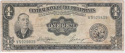 (N2-171) 1949 Philippines 1 peso bank note (B)