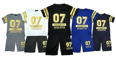 Boys Gold Style 07 Athletic Motif T-Shirt Top & Shorts Summer Set 2 to 8 Years