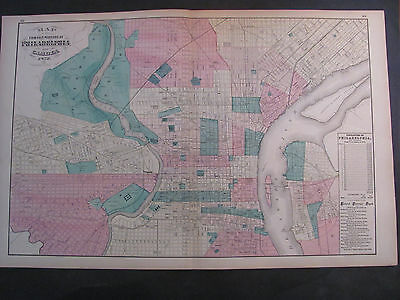Antique 1872 Map Of Philadelphia Hand colored Stedman, Brown & Lyon