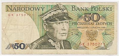 (N2-181) 1975 Poland 50 LOTYCH bank note (B)