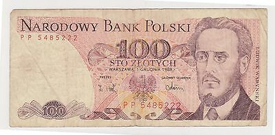 (N2-182) 1988 Poland 100 LOTYCH bank note (C)