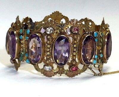 Regal Antique Victorian Amethyst 14K Gold Bracelet 58.54 grams