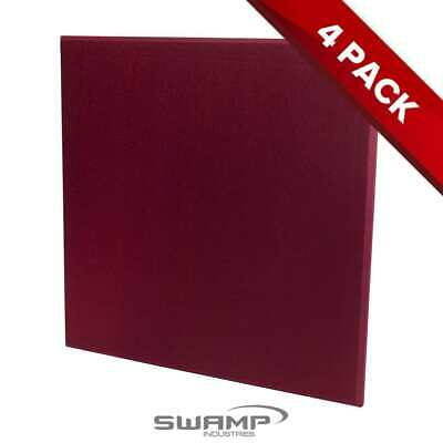 4x Fiberglass Panel - Studio Acoustic Treatment - Wine Red  Fibreglass - 60x60cm