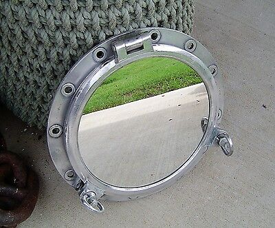 Salvaged 21 Inch Polished Aluminum Two-Dog Porthole Mirror