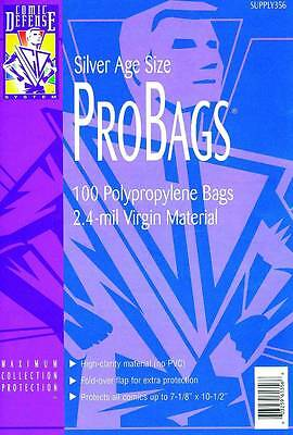 Comic Defense Silver Age Pro-Bags X 100 Comic Bags High Quality