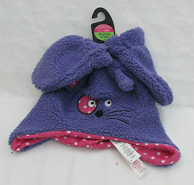 Girls Marks And Spencer Purple Cat Fleece Hat And Mittern Set 18 - 36 Months
