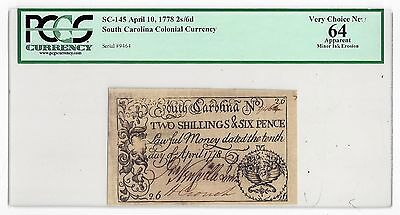 SC-145 April 10, 1778 2s/6d South Carolina Colonial Currency Serial #9464