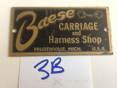 Baese Carriage And Harness Shop Plaque Prudenville Michigan- Brass Bit    3B