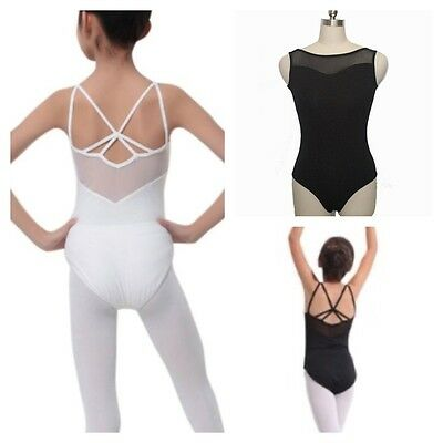 Black Leotard.UK White Cross Ballet Dance Bodysuit 6-15 Y Gymnastic Dancewear