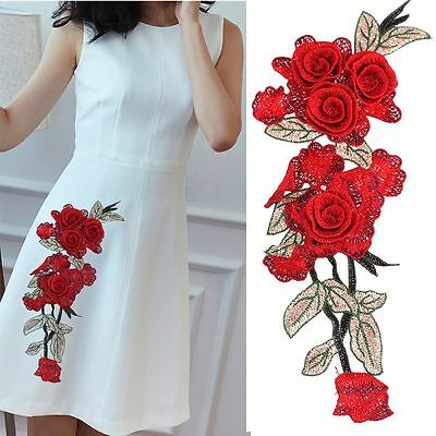 Fabric Handmade Embroidered Applique Flower Patch Sewing DIY Crafts