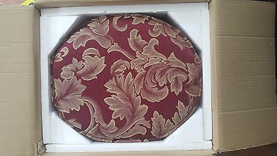 **NEW Antique Country Victorian? BURGUNDY Upholstered Mahogany Wood Foot Stool *