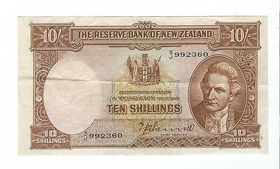 New Zealand -  Ten (10) Shillings, 1940-55