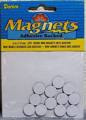"""Darice Small 1/2"""" (1.27cm) Round Flat Adhesive Backed Magnets 12 Pieces - Crafts"""