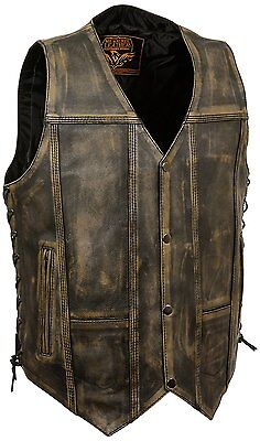 Men's Motorcycle Distressed Brown 10 Pockets Leather Vest Side Laces