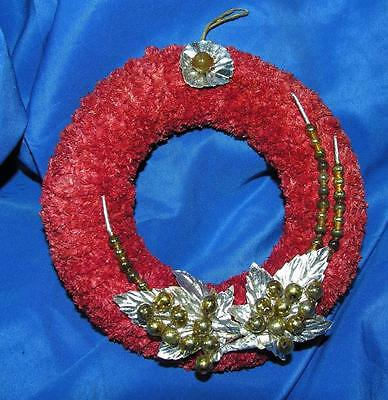 """Vtg Red Chenille Miniature 4 3/4"""" Xmas Wreath, Silver Gold Mercury Glass Beads,"""