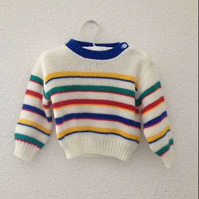 Vintage Striped Unisex Baby Boys Acrylic Sweater 9-12 Mos Months 70s 80s Vtg