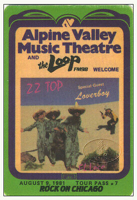 Zz Top Loverboy 1981 Loco Tour Radio Promotional Backstage Pass Alpine Valley