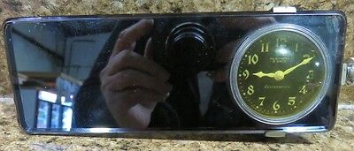 Vintage Automobile Rear View Beveled Edge Mirror with New Haven 8 Day Clock