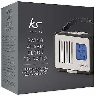 Kitsound Swing NEW SEALED FM alarm clock radio with aux in